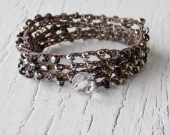 Crocheted Wrap Bracelet, Silver Black Gold Beaded Wrap Bracelet, Crocheted Necklace, Boho Bohemian Wrap Bracelet, Crocheted Beach Bracelet