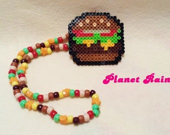 Hamburger Perler Kandi Necklace - Ready to Ship