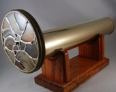 Vintage Kaleidoscope Brass with 2 Wheel Stained Glass Wood Stand Signed Sheryl Koch