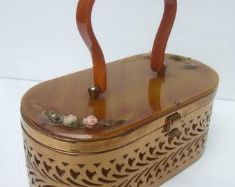 1950s Gilt Metal Oval Shaped Retro Handbag Shabby Chic AS IS Condition