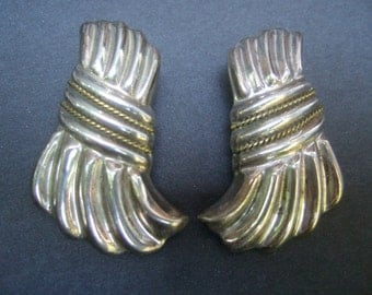 Sterling Artisan Large Mexican Clip On Earrings c 1980