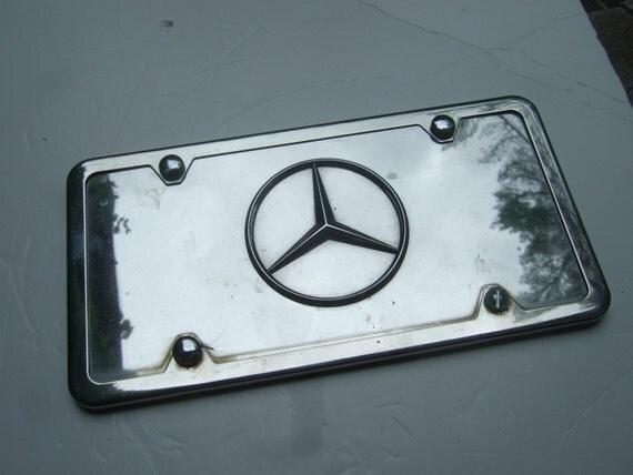 Mercedes benz vintage chrome metal license plate cover for Mercedes benz vanity license plates