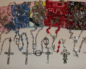 Rosary 6mm Pink, Light blue, Red, Lavender, Handmade First communion, Baptism, Rosary with pouch
