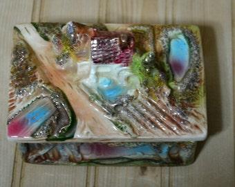 Vintage Japan Ceramic Trinket Jewelry Box Ornate Relief Landscape Dresser Box Porcelain