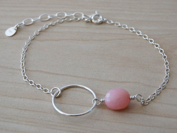 Silver Circle Bracelet With Pink Opal Gemstone - Sterling Silver