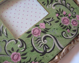 Vintage Pink, Green and Gold Romantic Victorian Country Cottage Chic Painted Floral Picture Frame