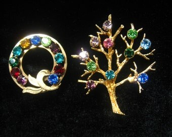 CLEARANCE SIGNED Pair of Brooches with Multi Color Rhinestones. VanDell Circle is 1/20th 12K GF. Tree is marked Sarah Coventry. Vintage 60's