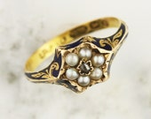 1859 Victorian 15k Yellow Gold, Engraved Blue Enamel, Pearl and Diamond Cluster Ring