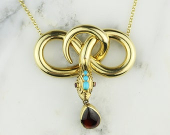Antique Georgian or Regency 15k Yellow Gold Turquoise, Ruby and Garnet Snake Mourning Necklace with Hair Memento