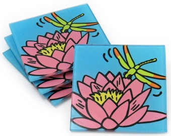 Waterlily and Dragonfly Tempered Glass Coasters