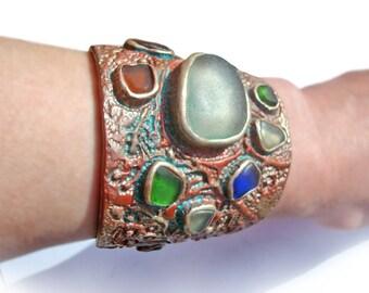 Sea Glass Cuff Bracelet. Large Bracelet With Beautiful, Multicolored Sea Glass. Handmade Bracelet With Artistic Soul.