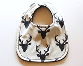 Deer Baby Bib, Minky Baby Bib, Forest Baby Bib, Art Gallery Buck Forest Night Baby Bib