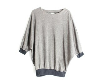 80s Metallic Silver Tinsel Disco Batwing Sweater