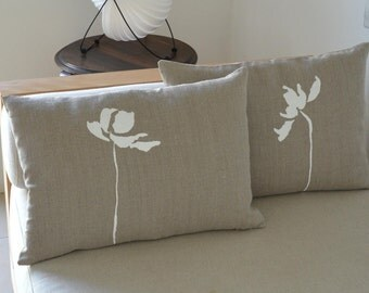 Tulip Flower drawing on linen pillow cover hand print - 100% natural linen eco friendly fabric -Beige pillow/ flower pillow hand painted