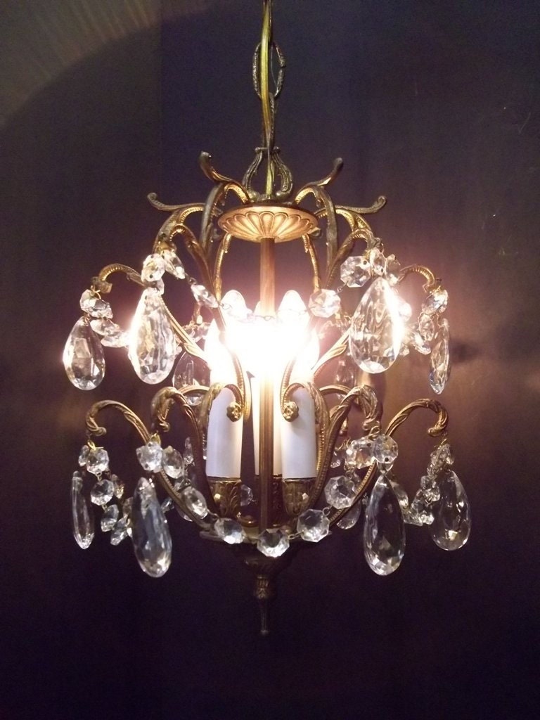 Reserved For Deb Petite Crystal Brass Chandelier Cage Light