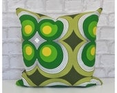 Cushion Cover Vintage 60s 70s Psychedelic Green Fabric