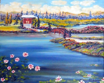 Japanese Landscape, Landscape Oil, Asian Riverside Peace, Tai Chi Meditation Art, 30 x 23 in, 58 x 76 cm, Original Oil, Dan Leasure