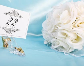 Cinderella's Glass slipper place card holder and card  Inspired by Disney's Fairytale Weddings