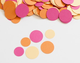 Party Decoration Circle Confetti Modern - Pink Orange Yellow - Butterfly Baby Shower