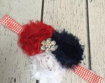 Girls 4th of July Shabby Chic Headband, Baby Bows, Hair Clips, Headbands, Baby Girl Headbands, Newborn Headbands