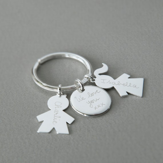 Father's personalized Family Key Ring Sterling Silver - Gift for dads, family man, first hero, father's day by Merci Maman
