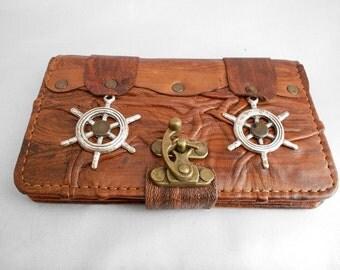 Handmade Samsung Galaxy Note 4 Leather  Case /galaxy note4 Cover / handmade leather case with ship wheel pendant &