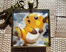 Raichu Handmade Glass Pendant from Trading Cards 1