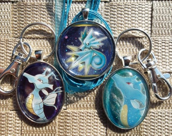 Seadra and Kingdra Japanese Holo Glass Pendant made from Trading Cards