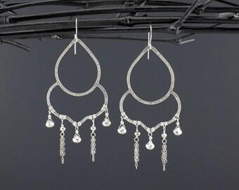 Silver Pyrite Earrings//Sterling Silver Long Hammered Pyrite Chandelier Earrings//Metallic Earrings//Handmade on Long Island ©The Gem Gypsy