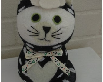Sock Cat/Sock Animal/toy/Plush Cat.- Edna