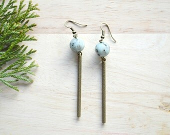 Long Jasper and Bronze Dangle Earrings - Boho Jewelry - Mint Stone Earrings - B130-K