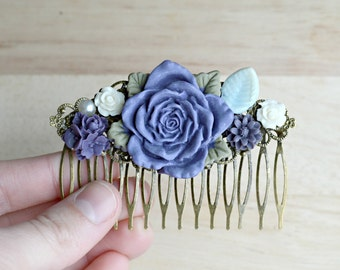 Purple Flower Hair Comb Wedding Trends 2015 Purple Rose Floral Hair Piece