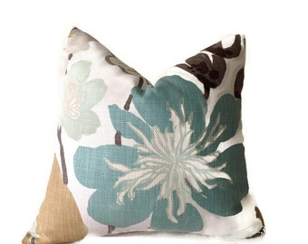 Floral Pillow,Kravet Pillow,Throw Pillows, Braemore Gorgeous Pearl, Decorative Pillow Cover, Green,Pillow, Lumbar Pillow