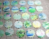 Scallop Tags, Watercolor Scallop Tags, Die Cut Scallops, Blue Green Watercolor Tags, Gift Tags 25 , Kathleen Leasure, From Glen To Glen