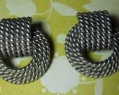 Pewter Silver Earrings, Jewelry, Rope Earrings, Vintage, Pierced