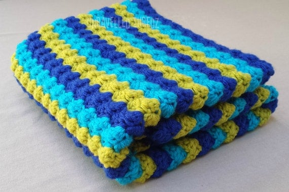 Baby Boy Blanket- Striped Bubble Blanket Blue Aqua and Lime