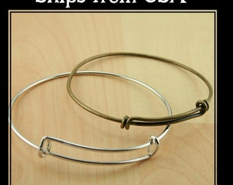 Charm Holder Bracelet Bangle - Create a Stack Bracelet, Add your own Charms. Pick your quantity. Antique Silver, Bronze or Shiny Silver. USA