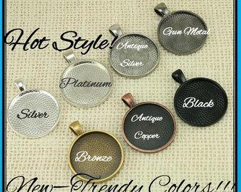 100 Kits-25mm GLASS (100), PENDANTS (100), 1 inch SEALS (100 or 200), Vintage Chain- Photo Jewelry, Pick your supplies. 7 Neutral Colors