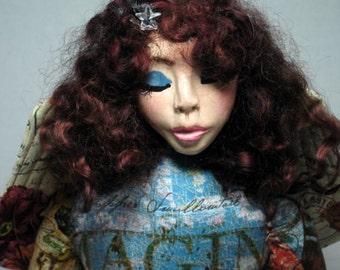 Blue Gold Fairy Faery Goddess OOAK Cloth Art Doll