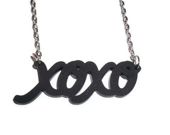 Black xoxo Necklace, Frosted Acrylic Perspex Pendant, XOX Cute Girly Jewelry Hugs and Kisses, Kitsch