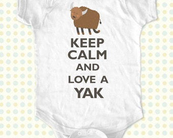Custom Keep Calm and Love a Yak kids one-piece or Shirt - Printed on Baby one-piece, Toddler, Youth shirts