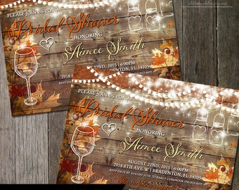 Fall Wine Tasting Bridal Shower Invitation - Rustic Wedding Shower - Autumn Wedding - Bridal Invite - Mason Jar  | Digital Printable Wine
