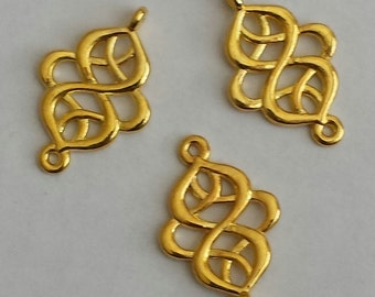 SALE - 10pc - Knot oval gold platted drop, leaf connector, pendant, link and more...Lead free