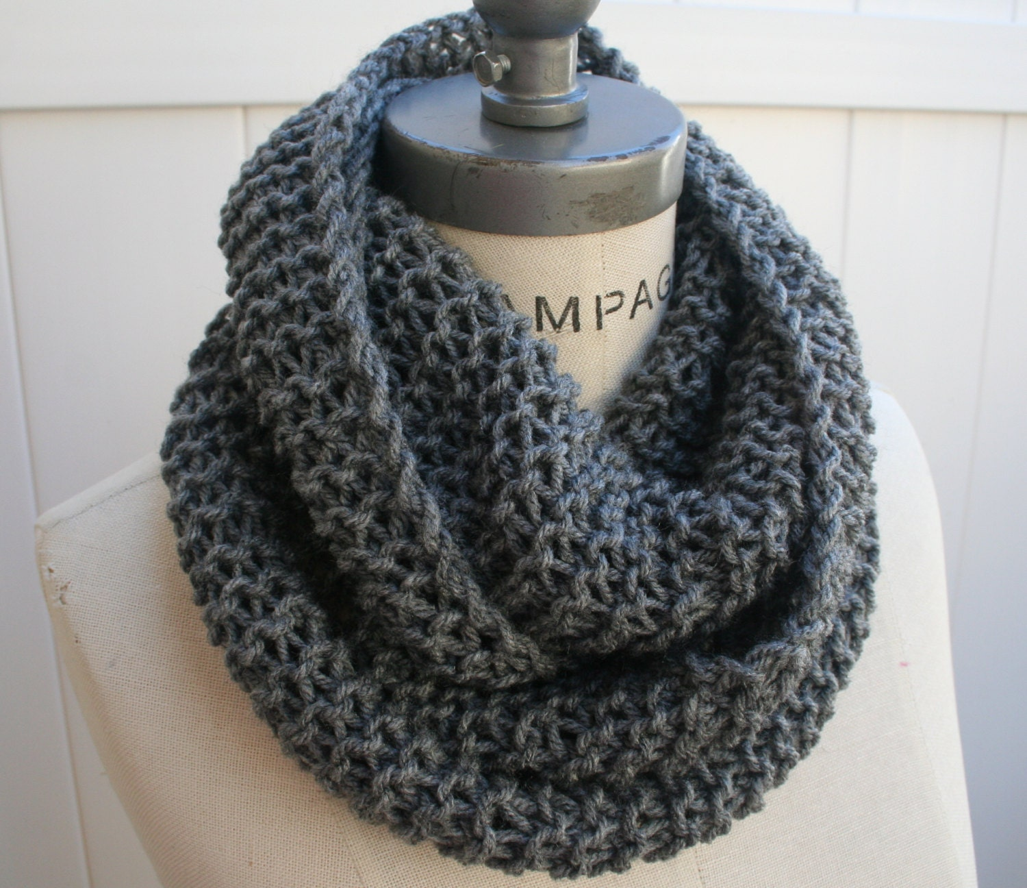 Black Knitted Infinity Scarf Scarf Knit Infinity Scarf