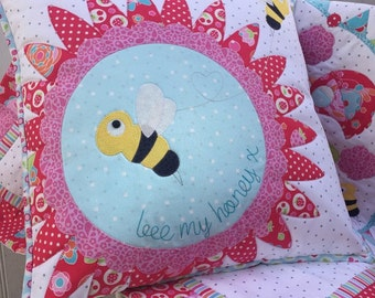 Bee my Honey applique cushion PDF pattern
