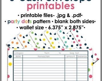 Printable Cash Envelope WALLET Size, PARTY DOTS, Money Budget Envelopes, Cash Organizer - Set of 6, Instant Download - PB1522