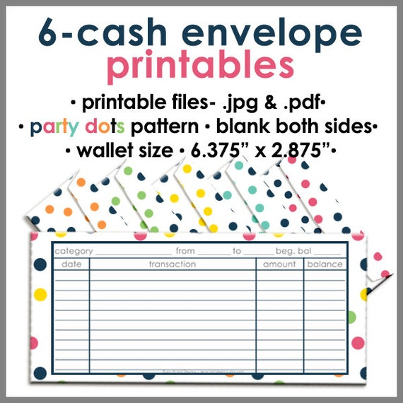 printable cash envelope wallet size party dots money budget
