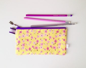 Floral Ditsy Yellow Divided Pencil Case (handmade philosophy's pattern)