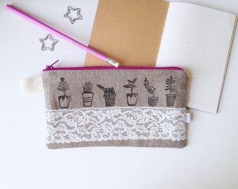 Little Garden Lace and Linen Divided Pencil Case