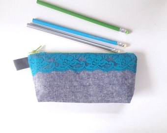 Lace and Chambray Flat Bottom Pencil Case